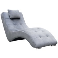 Stealth Fabric & Polished Steel Chaise Lounge - Light Gray ...