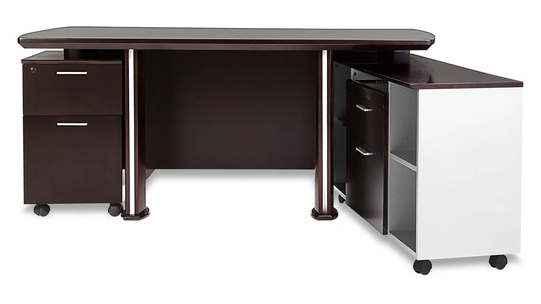 desk chair non rolling white swivel ikea walker modern dark wood with return and file