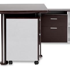 Desk Chair Non Rolling La Z Boy Walker Modern Dark Wood With Return And File