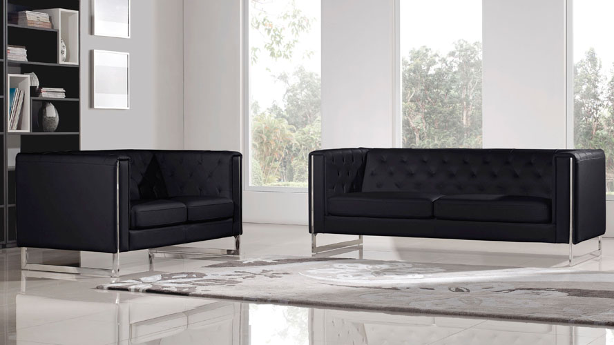 Modern Black Leatherette 2 Piece Easton Sofa Set With