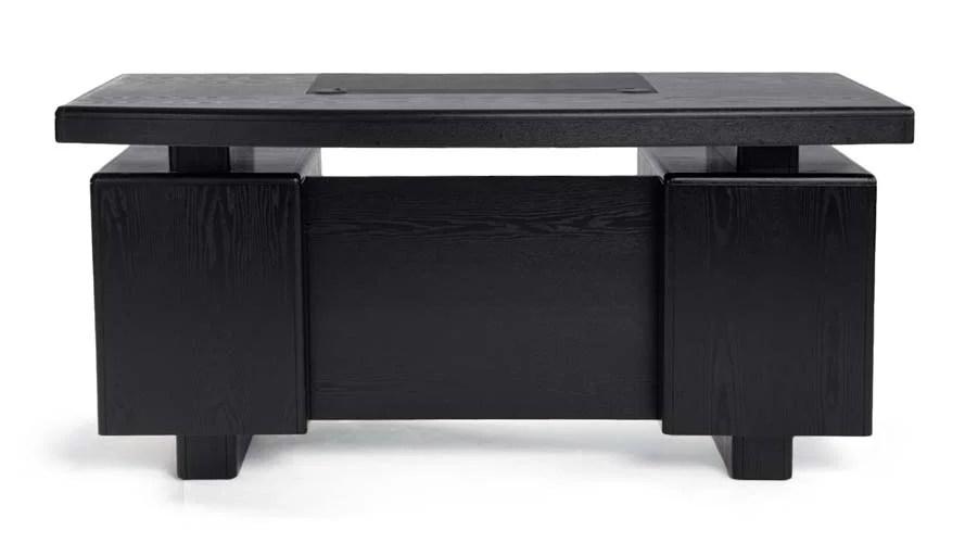 Monroe Black Wood Executive Desk  Modern  Contemporary