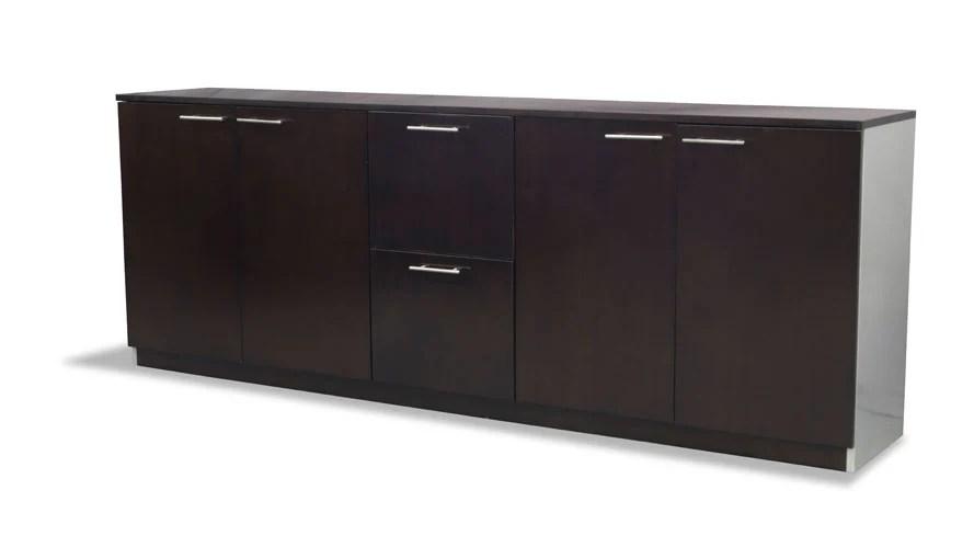 dark walnut dining chairs shower on wheels reagan modern polished filing cabinet credenza | zuri furniture