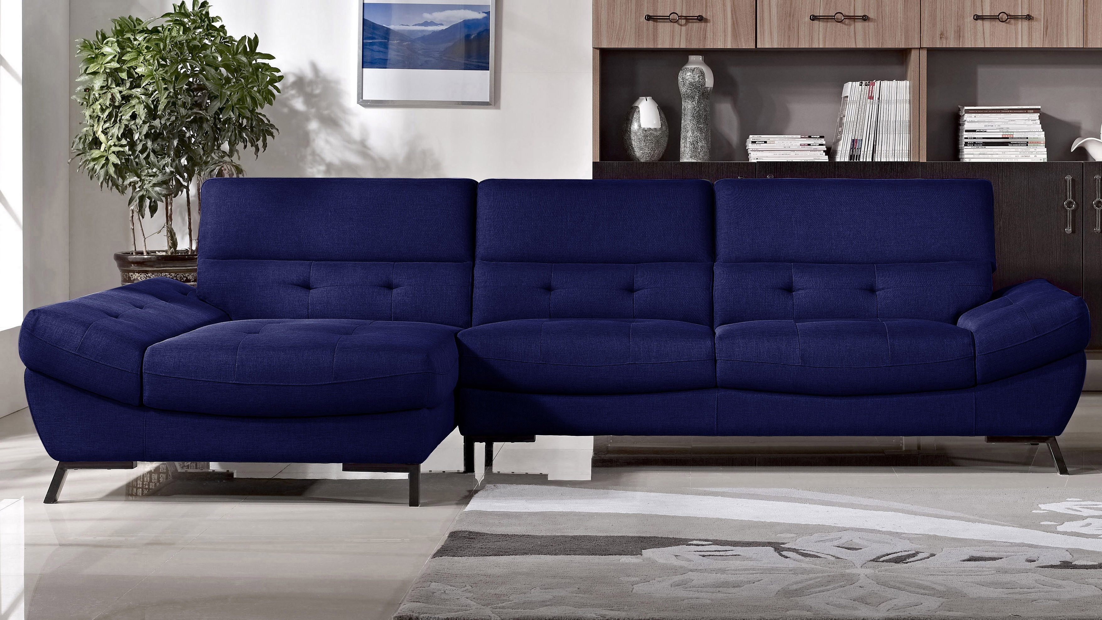 left chaise sofa sectional slipcover white stretch cover fresh cobalt blue | sofas