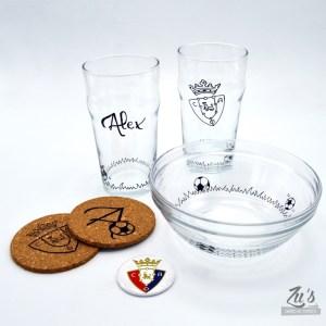 Pack para el futbolero: Vasos + Bol + Posavasos + Abrebotellas