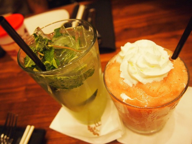 Asian Pear Mojito (left) - Auntie Chang's Fruit Frappe (right)