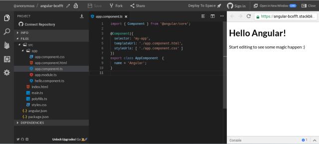 StackBlitz Angular project screenshot