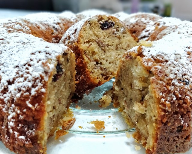 Croatian Christmas Bundt Cake cross cut so inside and outside of the cake is visible