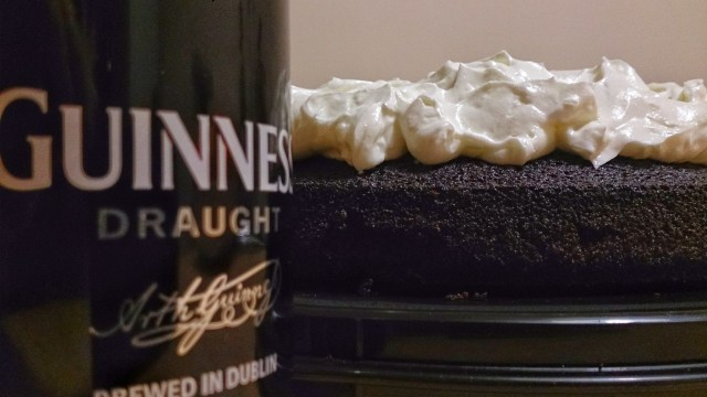 Black Guinness Cake with the side of a beer