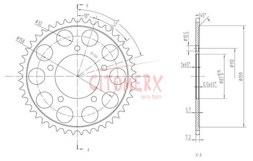 Kettenrad hinten 44 Zähne 525er Teilung für Suzuki SV 650