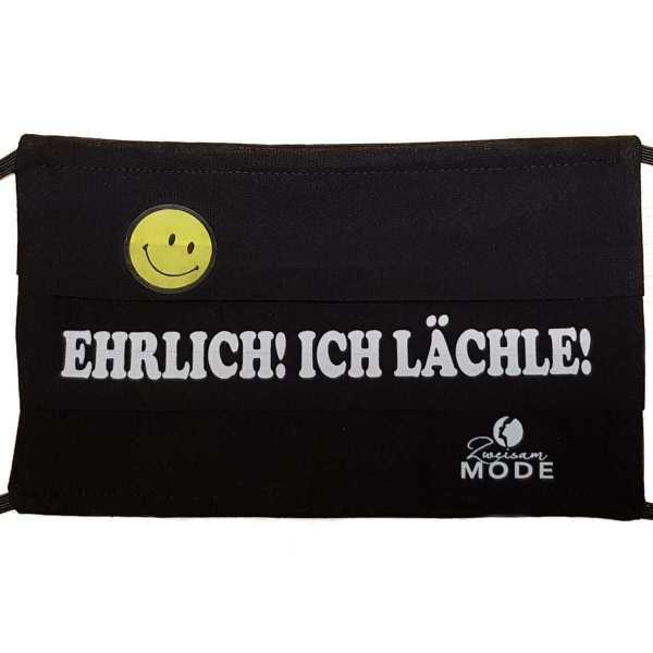 """Gesichtsmaske wiederverwendbar humor / Spruch """"ehrlich ich läcle!"""" schwarz mit schrift in weiss bequem handarbeit Zweisam Mode Schonach im Schwarzwald"""