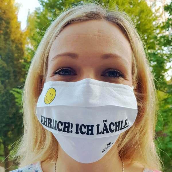 """Gesichtsmaske Mund - Nasenschutz wiederverwendbar lustig mit Humor / Sprüche mit """"Ehrlich! Ich Lächle!"""" aus Schonach im Schwarzwald"""