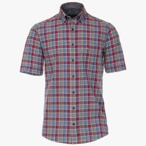 Herren Freizeit Hemd von CasaModa halbarm karo rot baumwolle front