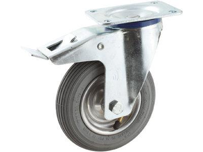 Zwenkwielen met rem 200 mm met luchtband grijs