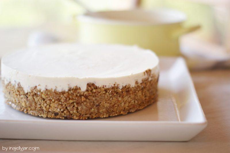 Rezept für Birnen-Cheesecake mit Soja-Karamell – ohne backen!