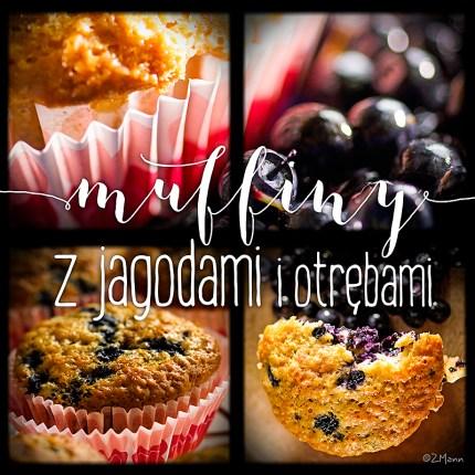 z widokiem na stół   muffiny z jagodami i otrębami