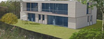 Perspectief schetsontwerp: moderne villa amsterdam