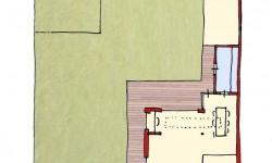 Plattegrond met uitbouw en berging