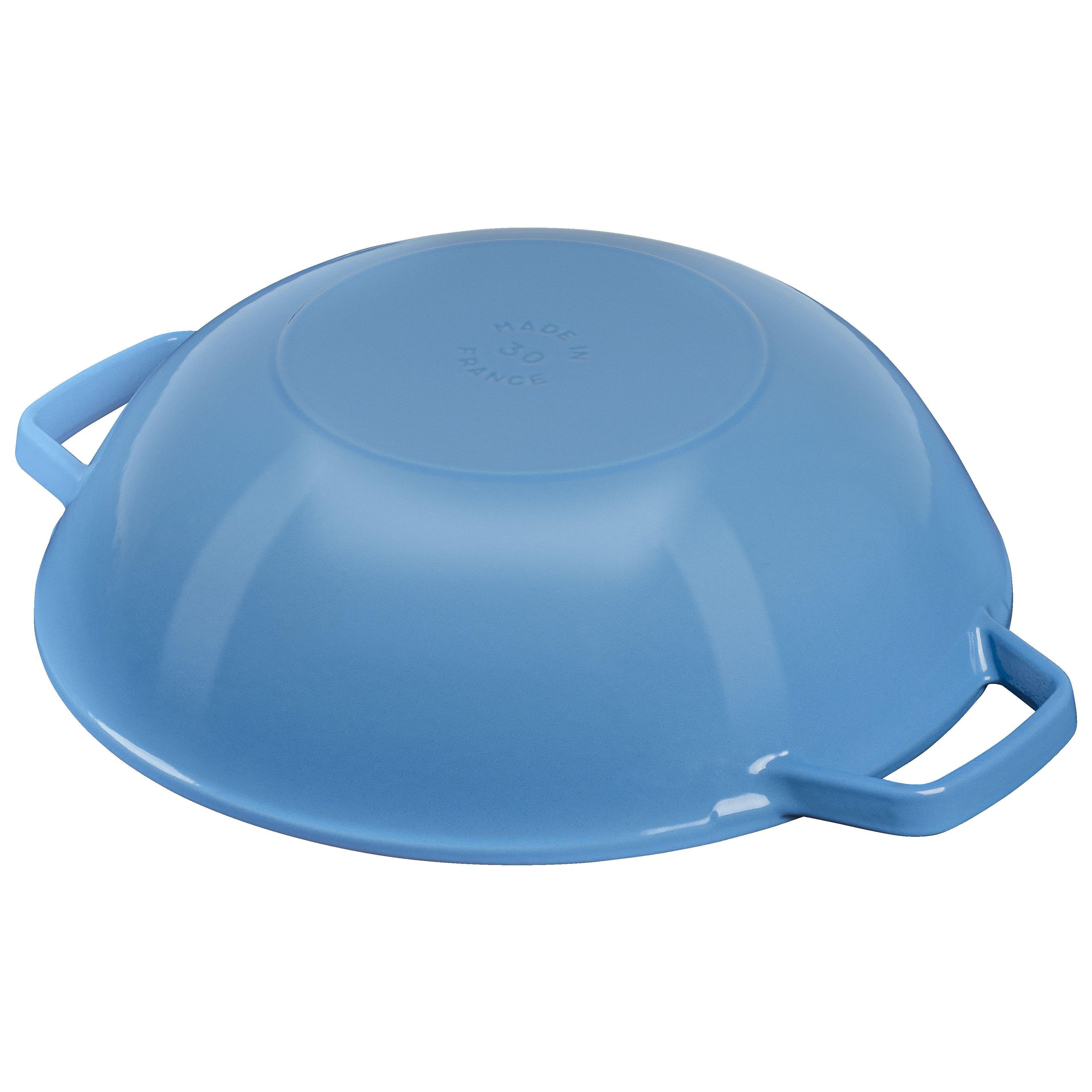Staub Cast iron 30 cm / 12 inch Cast iron Wok. ice-blue   Official ZWILLING Shop