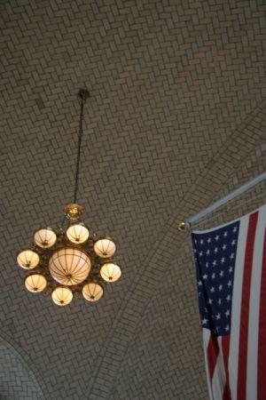 Roof of Ellis Island Immigration Center, flag