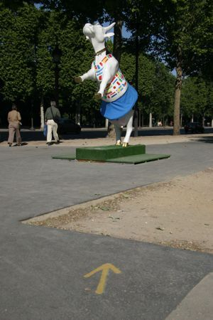 Cow in a skirt statue, Paris, France