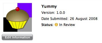 Yummy in iTunes Connect