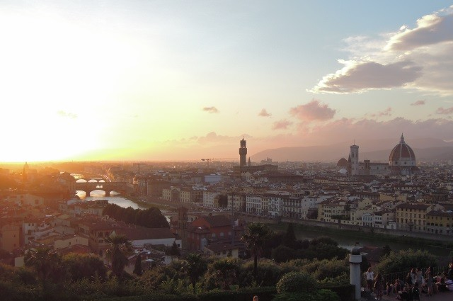 Zachód słońca Florencja Włochy