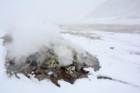 Dymiąca ziemia w Hverir Islandia