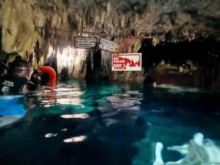 Tulum Cenote Dos Ojos snorkeling wejście do bat cave