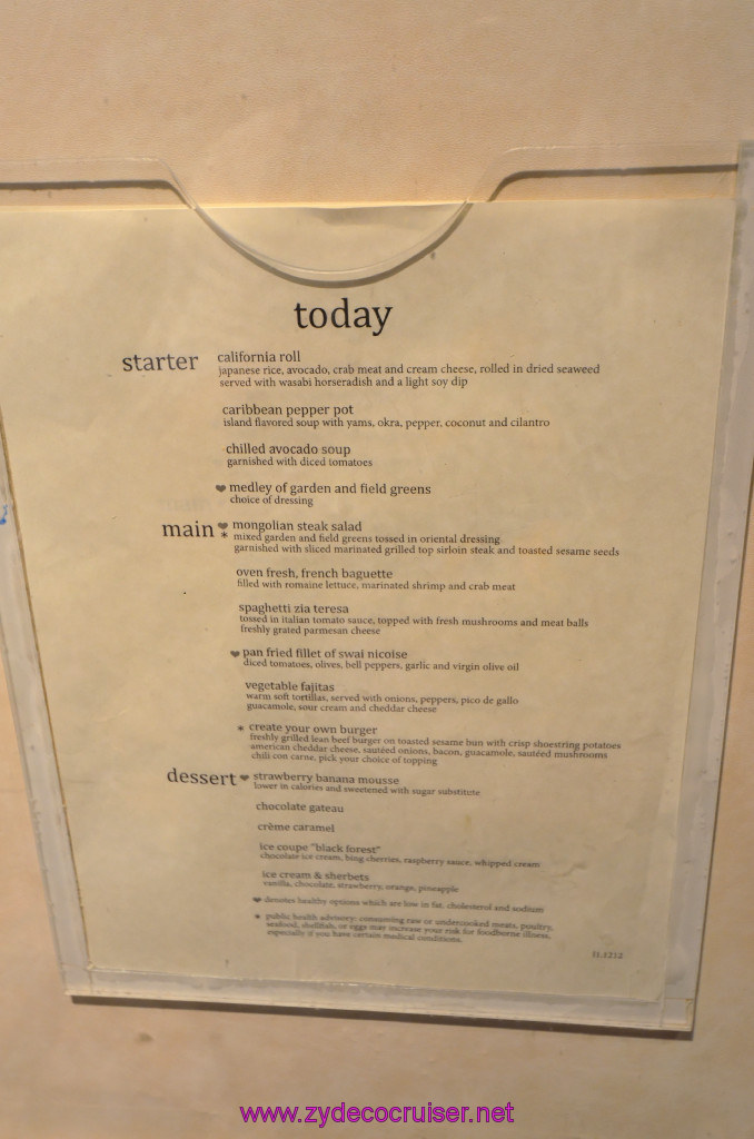 133 Carnival Elation Fun Day at Sea 1 Lunch Menu