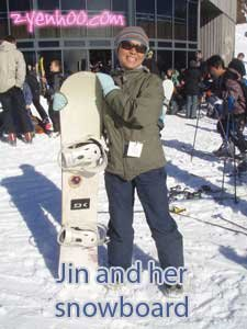 Jin and her snowboard