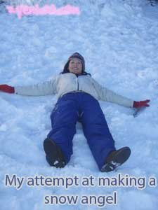 Attempting a snow angel