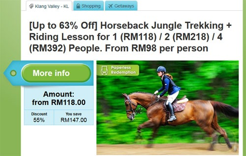 Groupon deal for horse trail riding