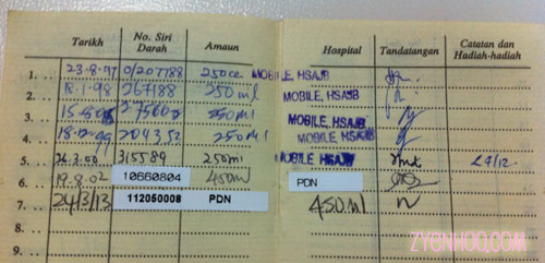 My booklet with my blood donation records. See how long ago the previous donation was!