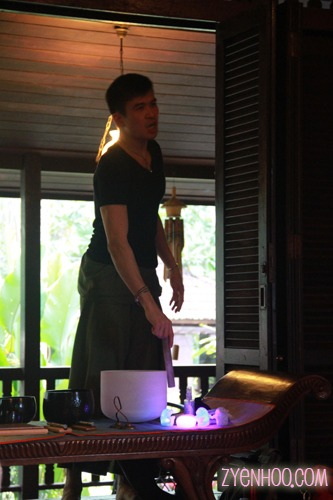 James' demonstrating his crystal singing bowl