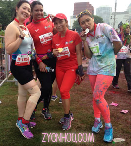 Me, Farah and Adiah completed the Live Great 12km run, while Fitri completed the Colour My Heart 5km run