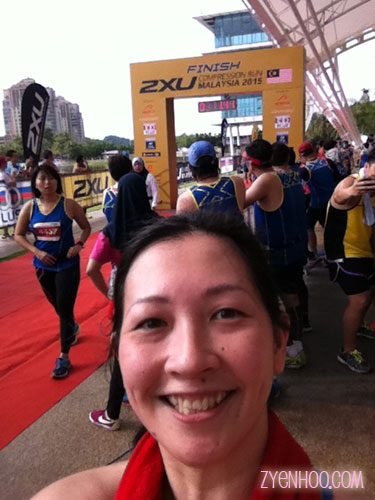 The Finish line is not the same as the Starting line. Taking a selfie here with the Finish!