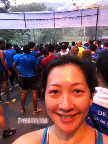 My customary selfie with the... err... Start Line. The makeshift arch was facing the other way so that it looked good when the photographers took photos of the runners preparing to start the run