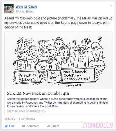 Wen-Li's follow-up cartoon about the reinstatement of the original date of SCKLM