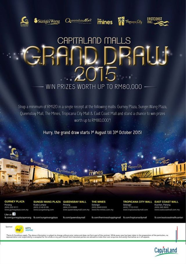 The Capitaland Malls Grand Draw which ran from 1 August to 31 October 2015
