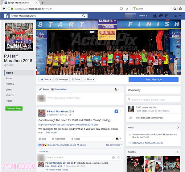 PJ Half Marathon's Facebook Page which was constantly updated leading up to the event, and even after the event