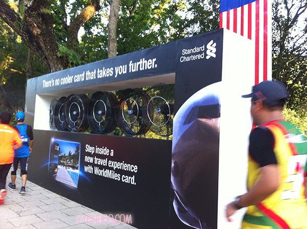Cooling fans provided by Standard Chartered. Cool marketing board!