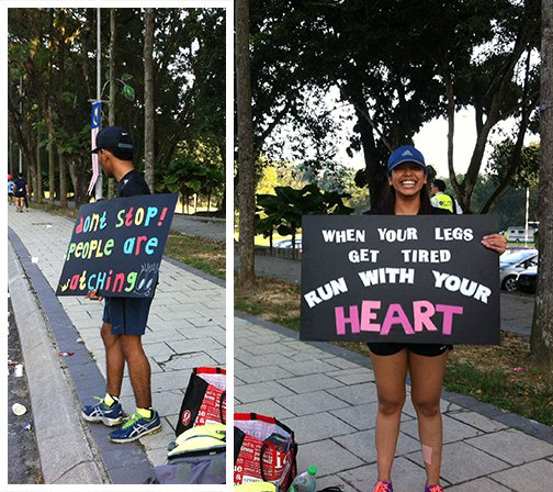 Some of the motivational signs I saw along the way. Thank you, random strangers for motivating us to keep going!