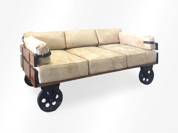 Sofa 3 dudukan yang anti mainstream berbahan besi dan kayu jati