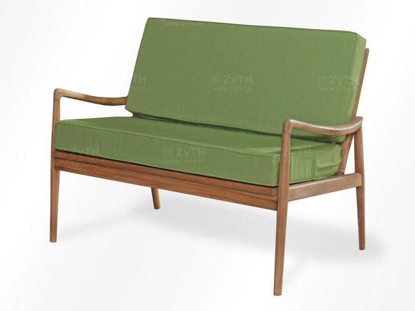 Kursi sofa tamu 2 dudukan kayu jati minimalis