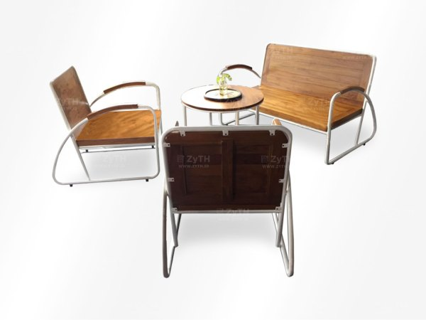 Jual kursi tamu set dari besi dan kayu jati