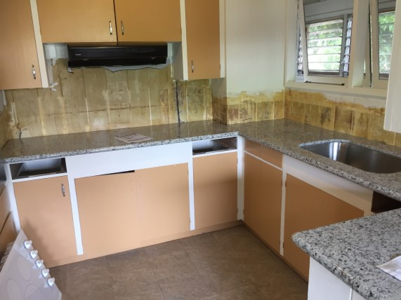 Kitchen with new marble countertop.