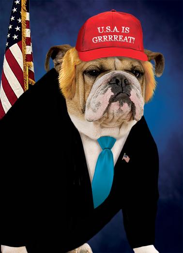 Funny Birthday Card Dog President From