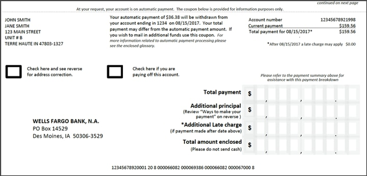 mortgage payment coupon template