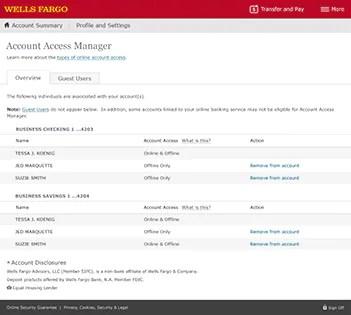 Account Access Management Wells Fargo Business Online Tour