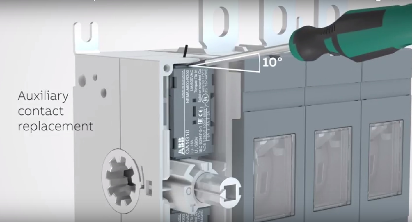 installation of auxiliary contacts on switches ot 160 250a and os 200 250 a [ 1440 x 764 Pixel ]